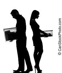 um, par, homem mulher, divórcio, separação