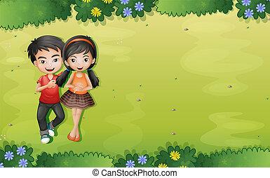 um, par jovem, em, a, jardim, vista aérea