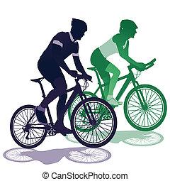 um, par, uma bicicleta