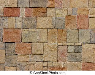 um, parede tijolo, de, um, novo, predios