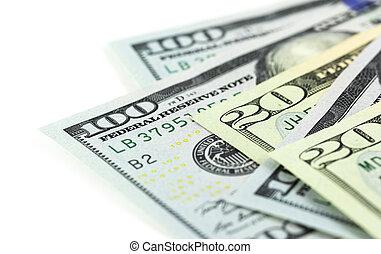 um, parte, dólares, branco, fundo