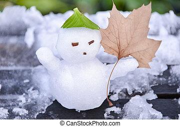 um, pequeno, homem neve, com, maple folheiam