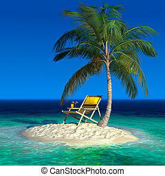 um, pequeno, ilha tropical, com, um, praia, longue chaise