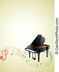 um, piano, com, um, g-clef, e, partituras