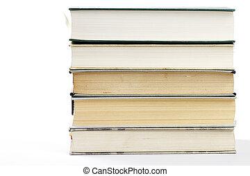 um, pilha, de, cinco, livros, branco, fundo