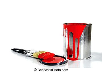 um, pintura vermelha, balde, e, escova