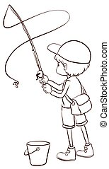 um, planície, esboço, de, um, pesca menino