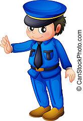 um, policia, com, um, completo, azul, informar