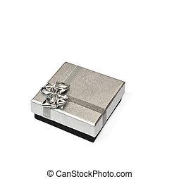 um, prata, caixa presente