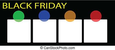 um, pretas, sexta-feira, bandeira, com, quadrado, etiqueta