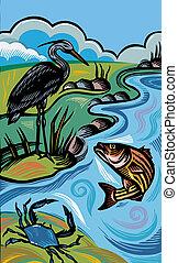 um, quadro, de, animais, vivendo, em, natural, habitat