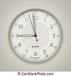 um, relógio, mostrando, três, segundos, para, nove