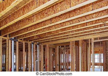 um, repouso novo, construção, interior, e, encanamento, dentro, um, casa, frame.