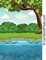 um, rio, lado, paisagem