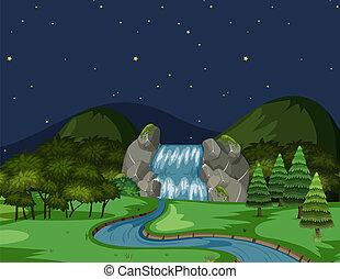 um, rio, vista, à noite