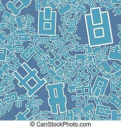 um, seamless, pattern., abstratos, letras, experiência., vetorial, illustration., decorativo, símbolos, backdrop.