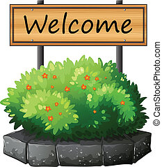 um, signage, acima, a, planta