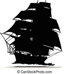 um, silhuetas, vetorial, navio, piratas