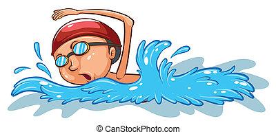 um, simples, colorido, esboço, de, um, menino, natação