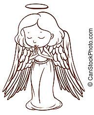 um, simples, esboço, de, um, anjo rezando