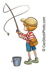 um, simples, esboço, de, um, menino jovem, pesca