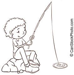 um, simples, planície, esboço, de, um, pesca menino