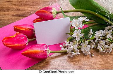 um, sinal, ligado, um, fundo cor-de-rosa, com, vermelho, tulips