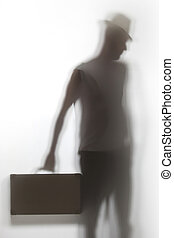 um, sombra, de, um, homem, segurando, um, briefcase.
