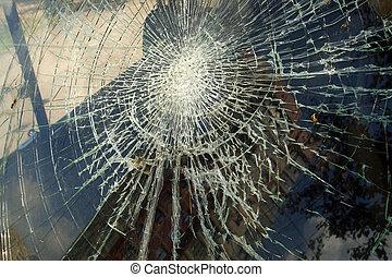 um, sujo, quebrada, divisão de janela, em, preto branco