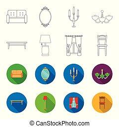 um, tabela café, um, lâmpada, cortinas, um, chair.furniture, jogo, cobrança, ícones, em, esboço, estilo, vetorial, símbolo, ilustração acionária, web.