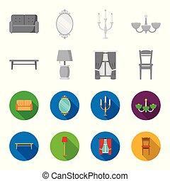 um, tabela café, um, lâmpada, cortinas, um, chair.furniture, jogo, cobrança, ícones, em, monocromático, estilo, vetorial, símbolo, ilustração acionária, web.