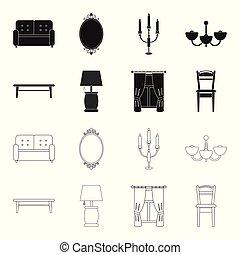 um, tabela café, um, lâmpada, cortinas, um, chair.furniture, jogo, cobrança, ícones, em, pretas, estilo, vetorial, símbolo, ilustração acionária, web.