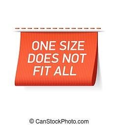 um tamanho, faz, não, ajustar, tudo, etiqueta