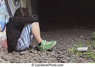 um, triste, adolescente, deprima, em, um, túnel