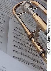 um, trombone, descansar, um, fundo, de, música
