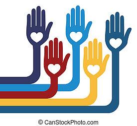um, unidas, grupo, de, amando, hands.