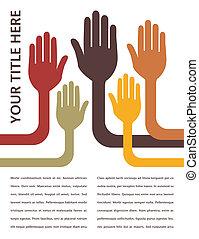 um, unidas, grupo, de, hands.