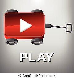um, vagão, -, jogo, filme, botão