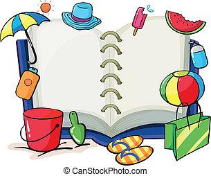 um, vazio, livro, com, a, coisas, usado, durante, verão