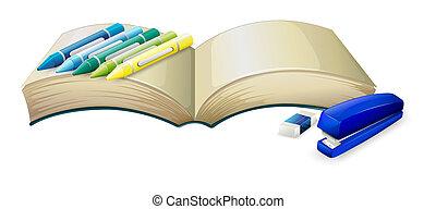 um, vazio, livro, com, creions, um, grampeador, e, um, borracha