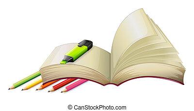 um, vazio, livro, com, um, highlighter, e, lápis