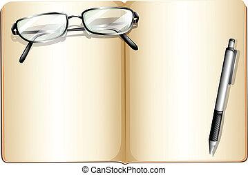 um, vazio, livro, com, um, lente, e, um, ballpen