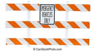 um, veículos emergência, só, sinal, e, barricada, isolado, branco