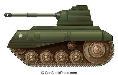 um, verde, militar, tanque