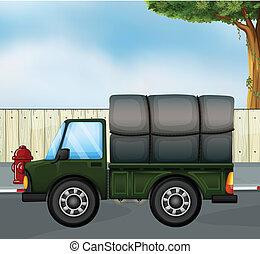 um, verde, pista, com, um, carga, em, a, costas