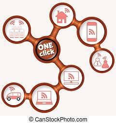 um, vetorial, palavras, bordas, ícone, clique, circular