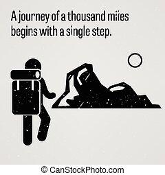 um, viagem, para, um, mil, milhas, começar