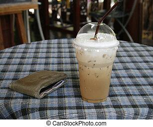 um, vidro, de, café, um, carteira