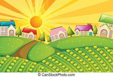um, vila, com, fazenda