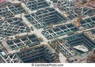 um, vista aérea, de, a, construção, de, a, porão, de, um, maciço, arranha-céu, em, shanghai, -, china